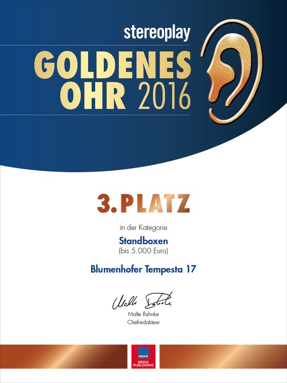 Urkunde Goldenes Ohr 2016 stereoplay 30x40_preview_18